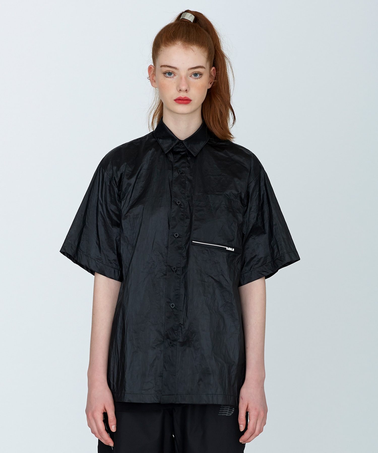 [SUMMER SALE 20%]Oversize Rubber Wappen Shirts(BK)