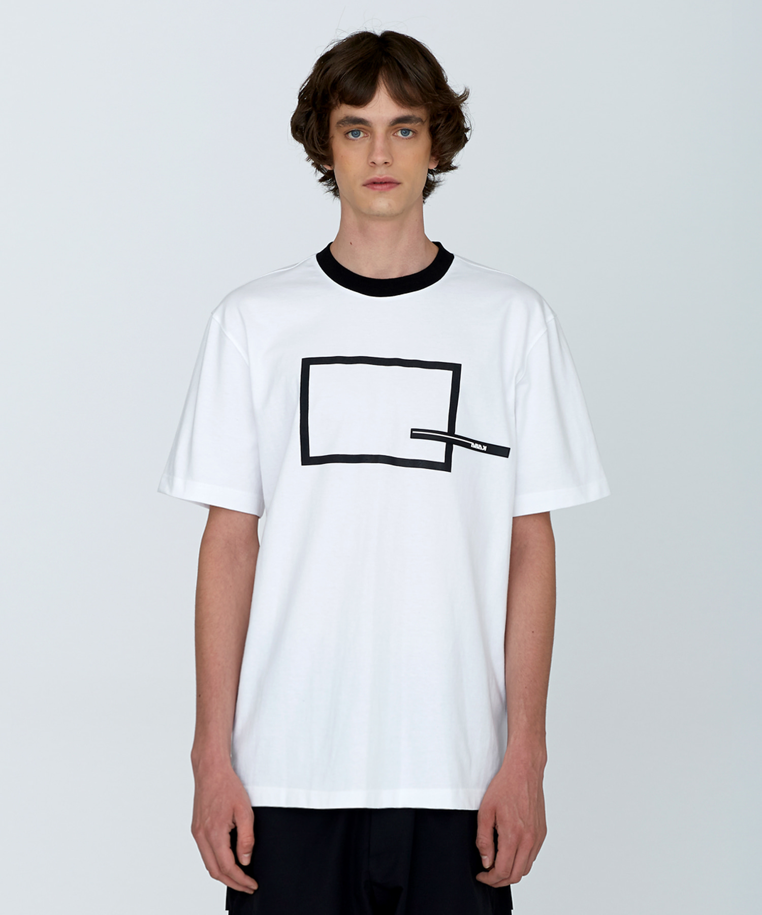 [SUMMER SALE 20%]Square Printing T-Shirts(BK)