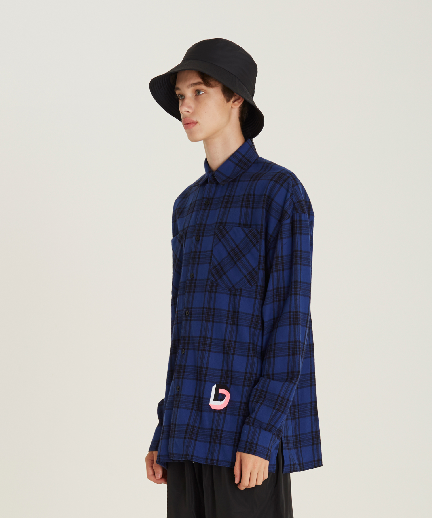 [18FW][50% 세일] D Embroidery Check Shirts(BL)