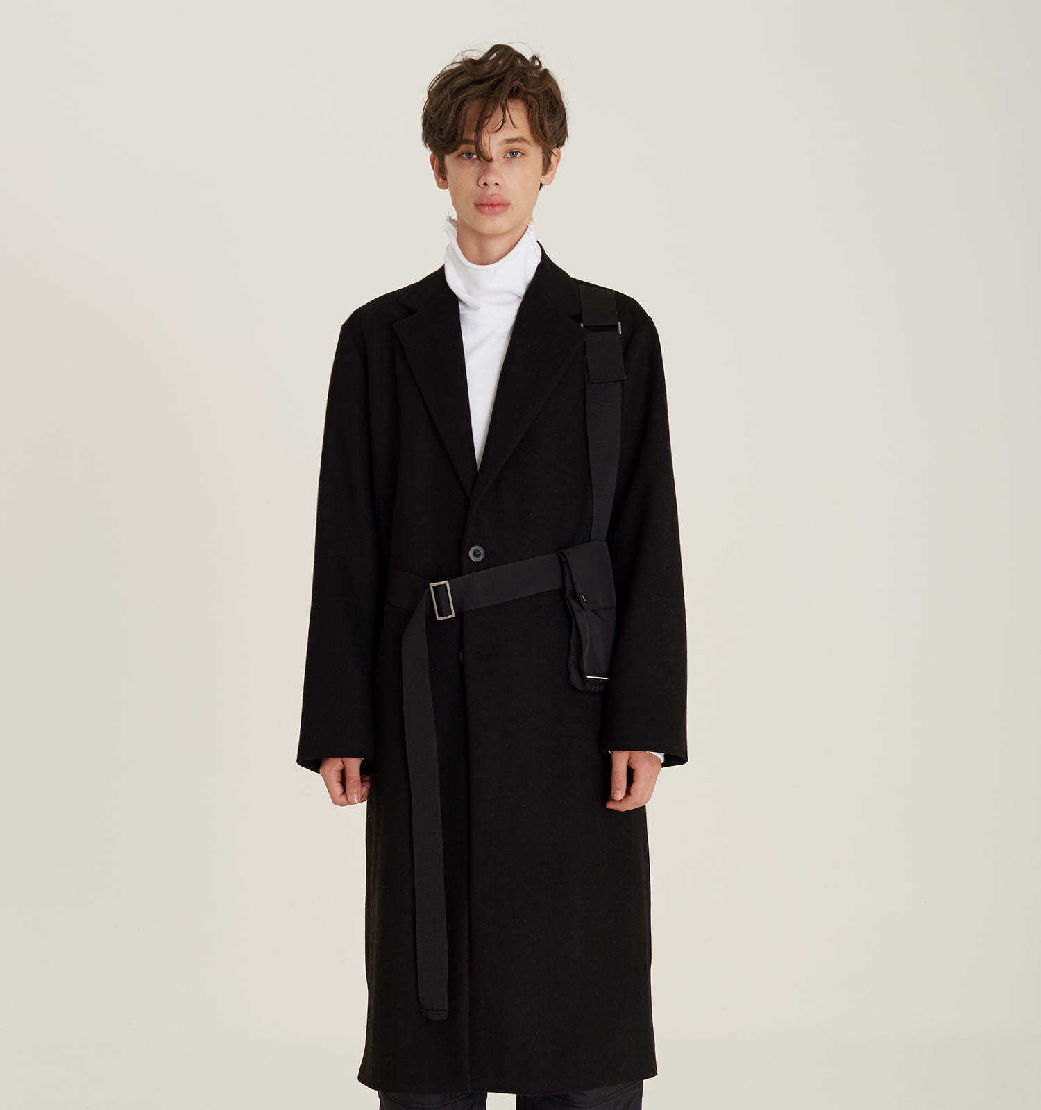 [18FW][시즌오프 50% 세일] Belt Pocket Single Coat (BK)