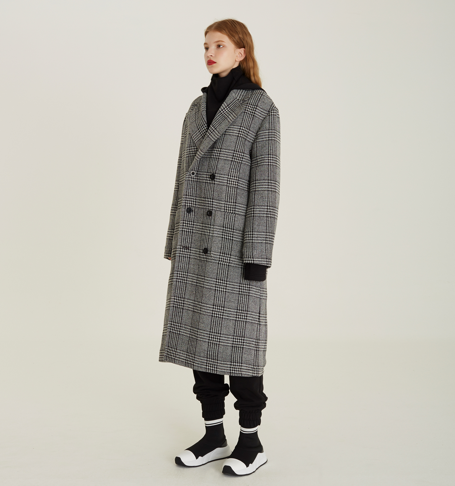 [18FW][시즌오프 30% 세일] Detachable Hood Check Coat (BK)
