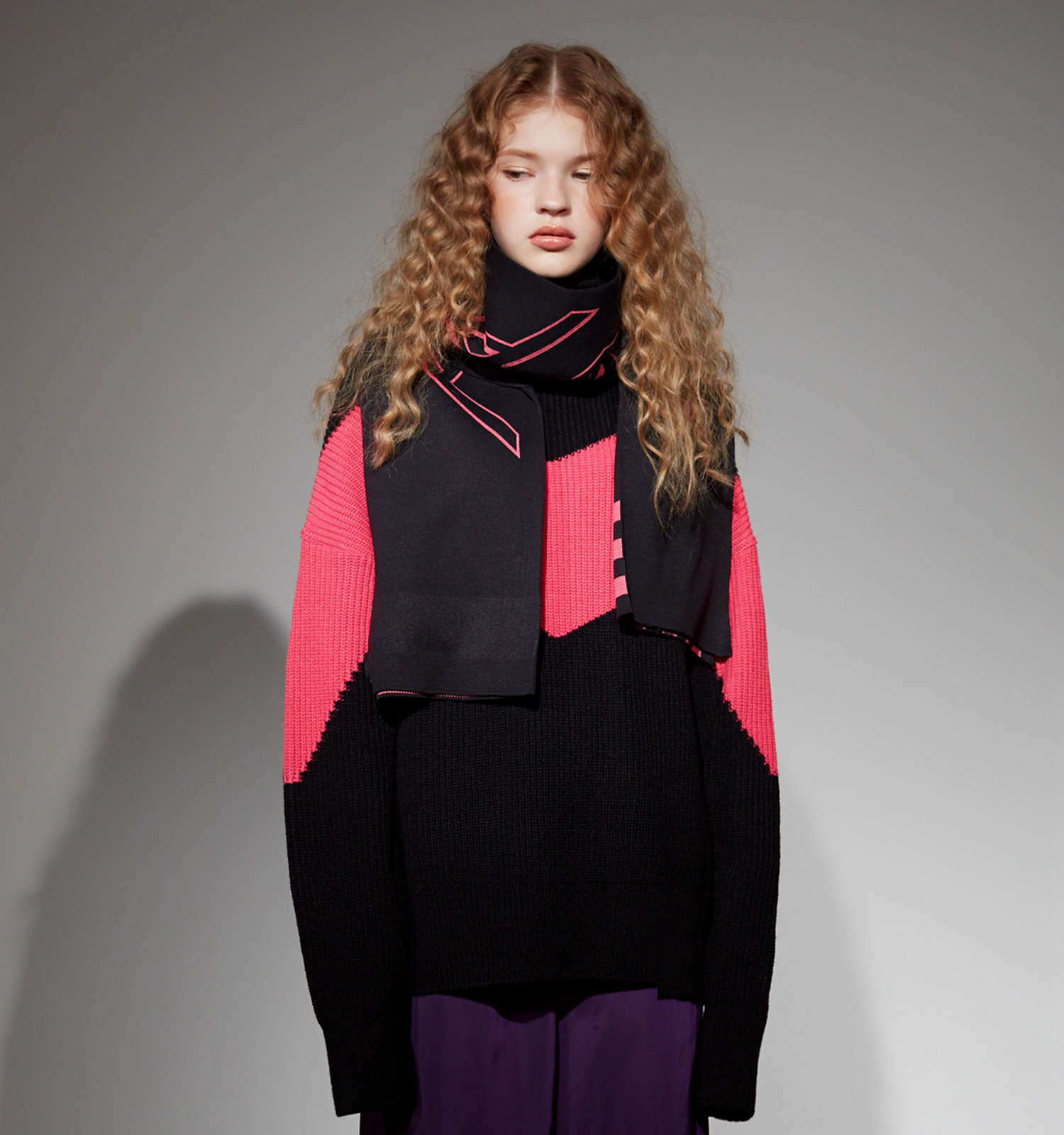 [18FW][50% 세일] Color Blocking Pull Over knit (BK)