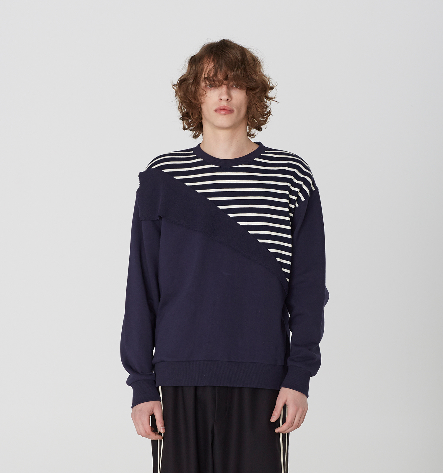 [19S/S] Diagonal Stripe Sweat Shirts (NA)