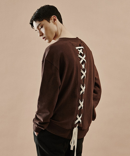 [20%세일] Back Lace-Up Sweat Shirts (BR)