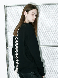[Season Off 30% 세일]Back Lace-Up Logo Sweat Shirts (BK)