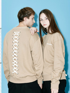 [OULET 70% SALE] Back Lace-Up Logo Sweat Shirts (BE)