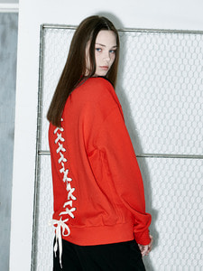 [OULET 70% SALE] Back Lace-Up Logo Sweat Shirts (RE)