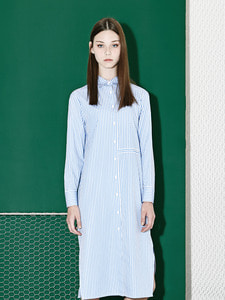 [Season Off 50% 세일]Stripe Long Shirts Dress (BL)