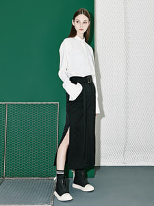 [30% 세일]Belt Point Long Skirt (BK)