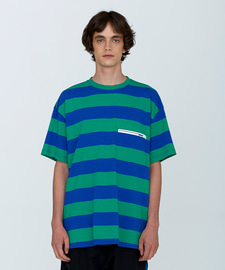 [SUMMER SALE 20%]Rubber Wappen Stripe T-Shirts(BL)