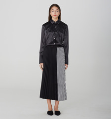 [19S/S] Stripe Pleated Long Skirt (BK)