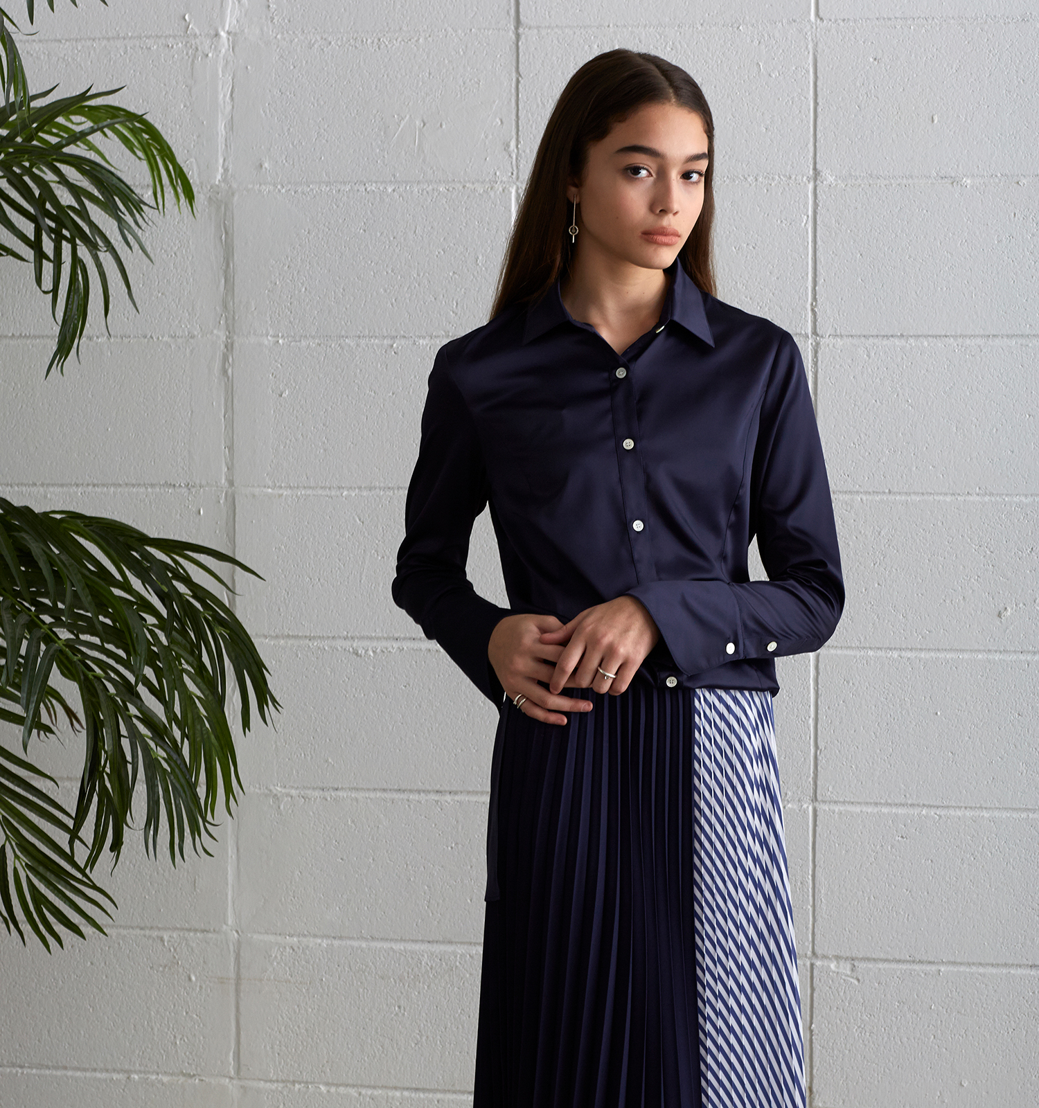 [19S/S] Back Belt Satin Blouse (NA)