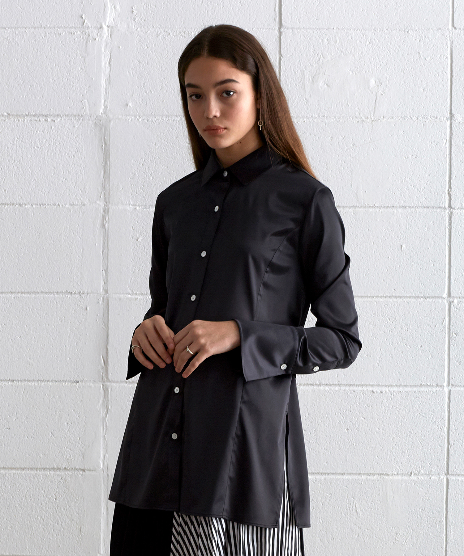 [19S/S] Back Belt Satin Blouse (BK)
