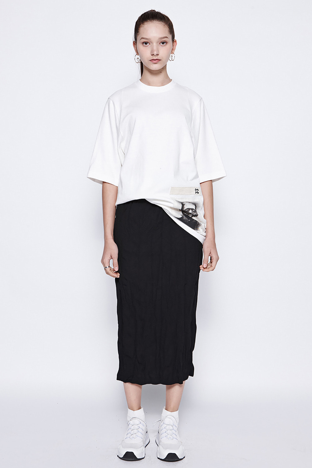 [19SS][70% 세일] Washing Pleats Long Skirt (BK)