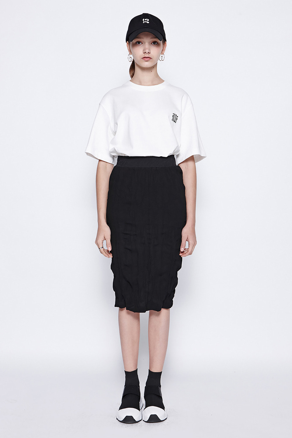 [19SS][70%SALE] Washing Pleats Midi Skirt (BK)