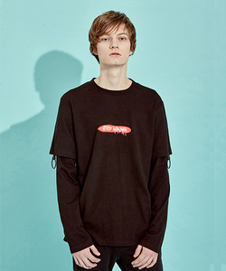 [BF 40%세일]O-Ring Layerd Sleeve T-Shirts (BK)