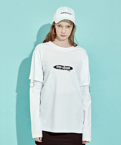 [클리어런스 70% 세일]O-Ring Layerd Sleeve T-Shirts (WH)