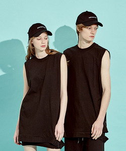 [역시즌Off 40% 세일]Slit Sleeveless T-Shirts (BK)