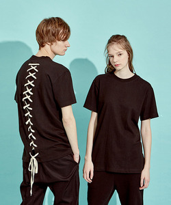 [OULET 50% 세일]Back Lace-Up T-Shirts (BK)