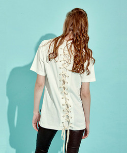 [역시즌Off 40% 세일]Back Lace-Up T-Shirts (WH)
