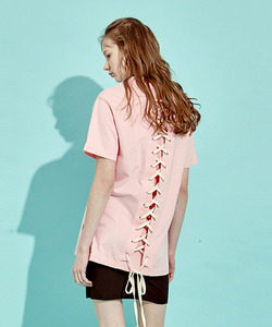 [OULET 50% 세일]Back Lace-Up T-Shirts (PI)